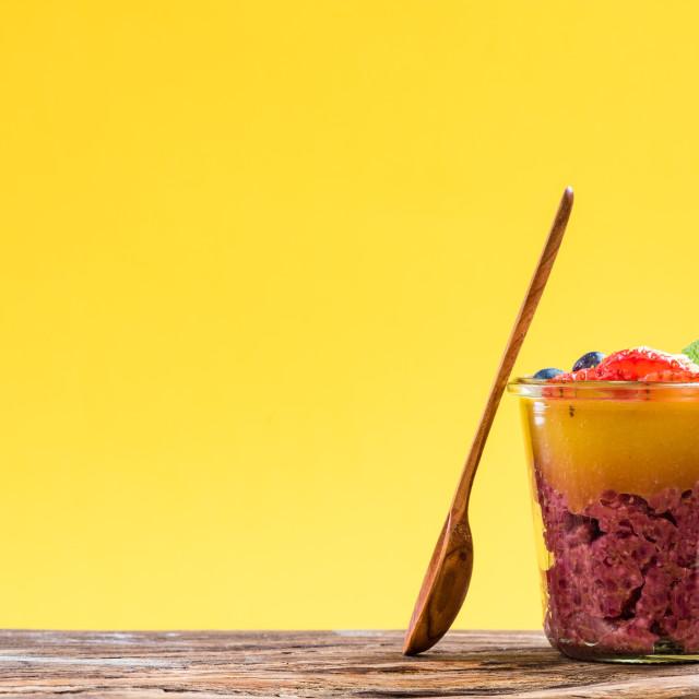 """Rice,chia and spirulina mango dessert."" stock image"