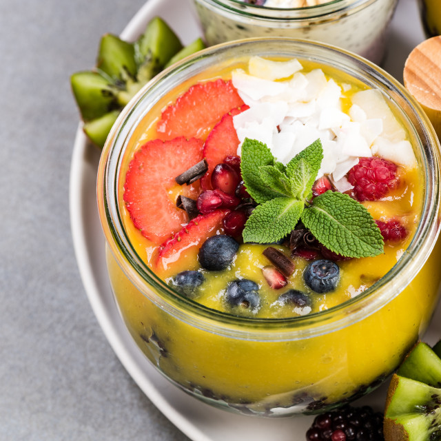 """Mango puree and black rice in jar"" stock image"