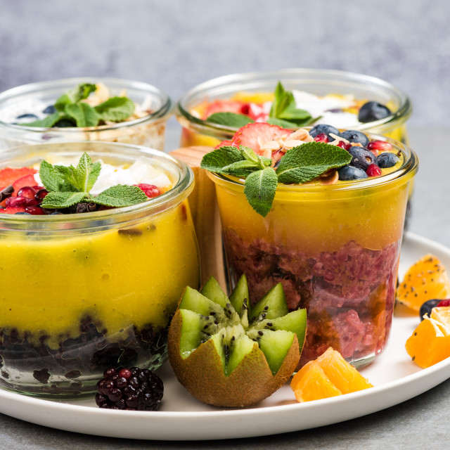 """""""Ripe fruits and superfoods jars"""" stock image"""