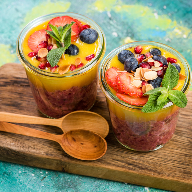 """Healthy fresh fruits breakfast in jars"" stock image"