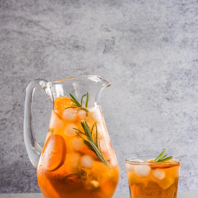 """Iced peach tea in jug"" stock image"