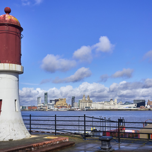 """""""Liverpool skyline over the river Mersey"""" stock image"""