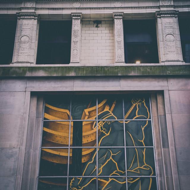 """An art deco mural, Pittsburgh"" stock image"