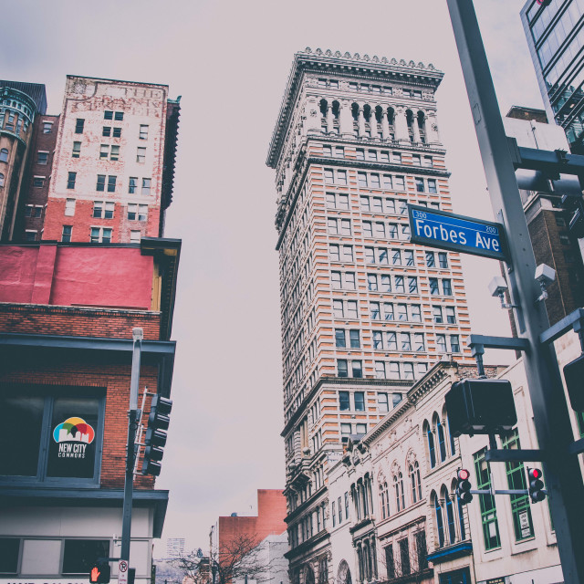"""""""Forbes St, Pittsburgh"""" stock image"""