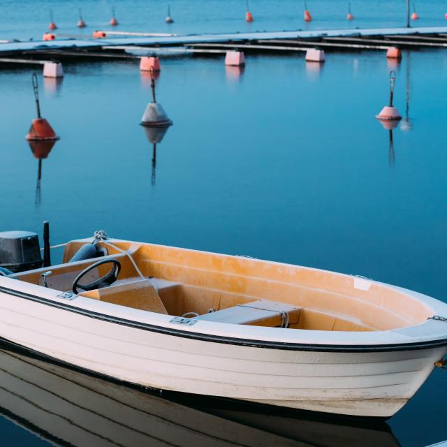 """Helsinki, Finland. Powerboat Or Motorboat Moored At Berth"" stock image"