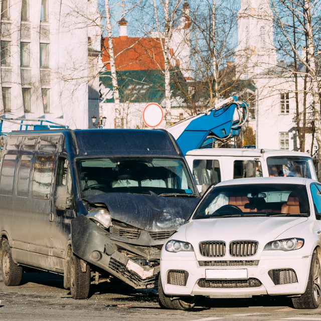 """Collision Of Two Cars. Crashed Minibus And Luxury Crossover SUV Cars In City..."" stock image"