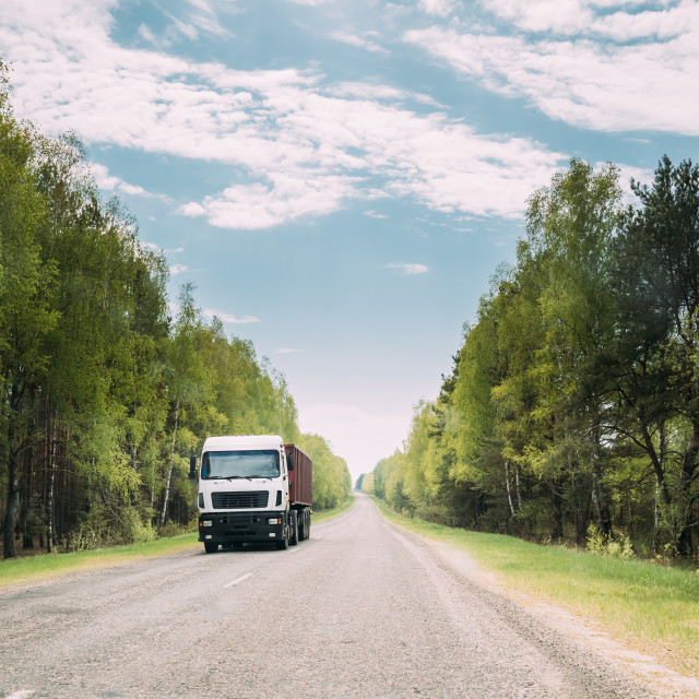 """""""Truck, Tractor Unit, Prime Mover, Traction Unit In Motion On Country Road..."""" stock image"""