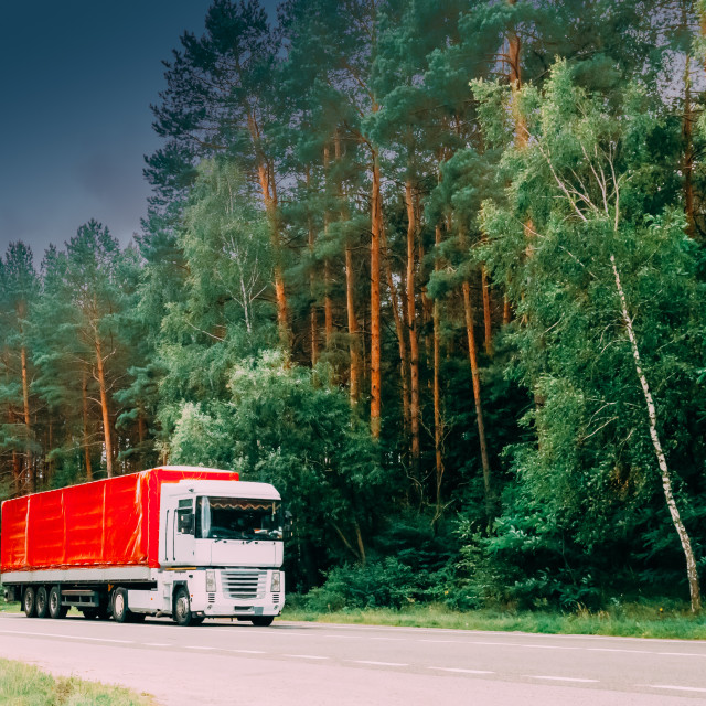"""""""Truck, Tractor Unit, Prime Mover, Traction Unit In Motion On Country Road,..."""" stock image"""