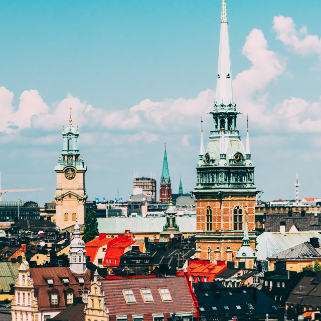 """Stockholm, Sweden. Historical Center With Tall Steeple Of The German Church..."" stock image"