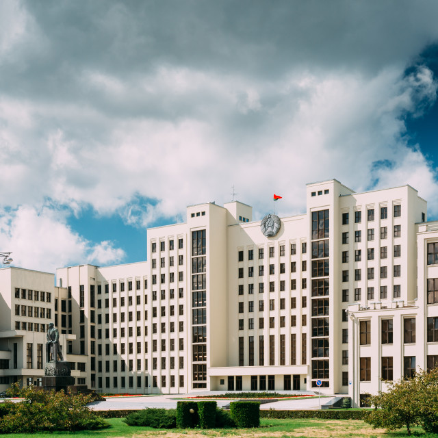 """Minsk, Belarus. White Government Parliament Building Or National Assembly Of..."" stock image"