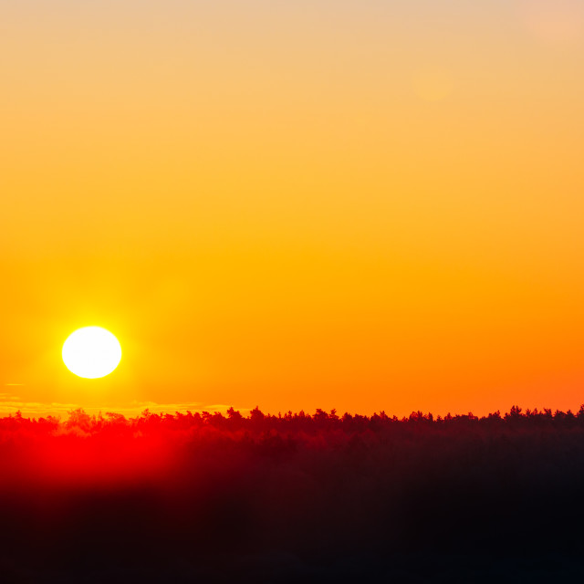 """Sun Over Horizon, Sunset, Sunrise"" stock image"