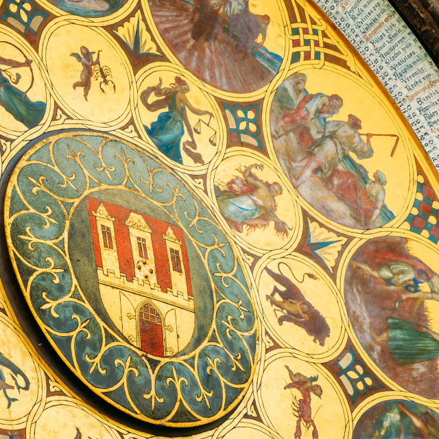 """Astronomical Clock In Prague, Czech Republic. Close Up Photo"" stock image"