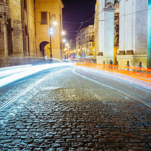 """Night View of traffic lights in street in Prague, Czech republic."" stock image"