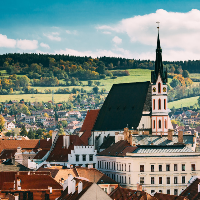 """St. Vitus Church and cityscape Cesky Krumlov, Czech republic"" stock image"