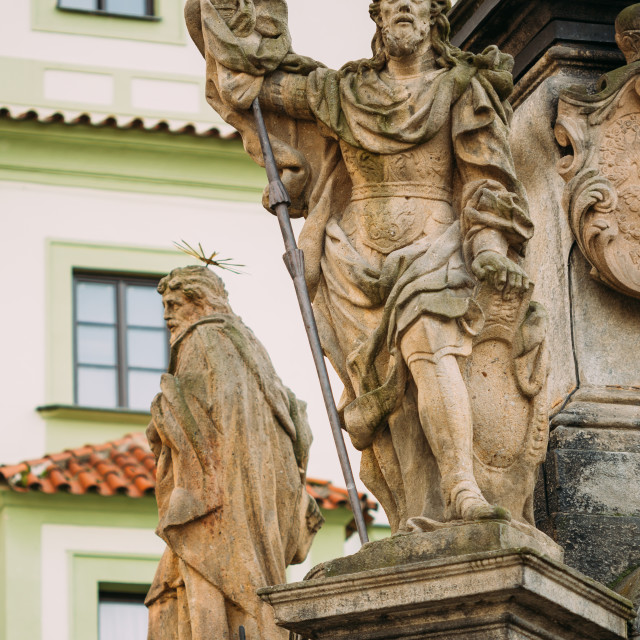 """Detail of Column. Statue on main town square in Cesky Krumlov, Czech Republic"" stock image"