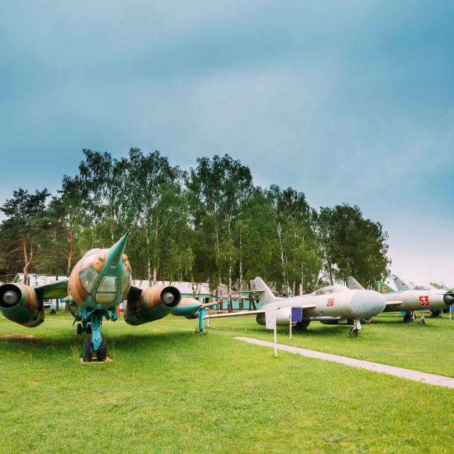 """Old Russian Soviet Military Planes Aircraft Fighters And Bombers Stands At..."" stock image"