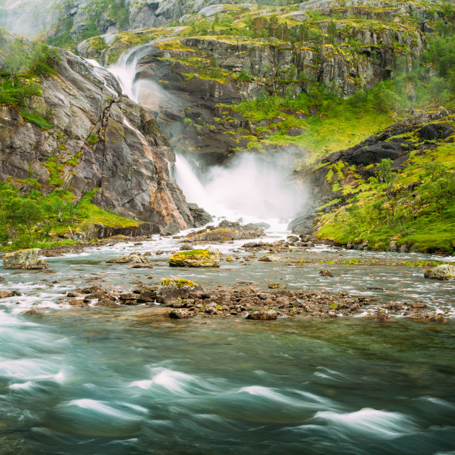 """Beautiful Waterfall In Valley Of Waterfalls In Norway."" stock image"