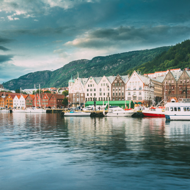 """Bergen, Norway. View Of Historical Architecture, Buildings, Bryggen In..."" stock image"