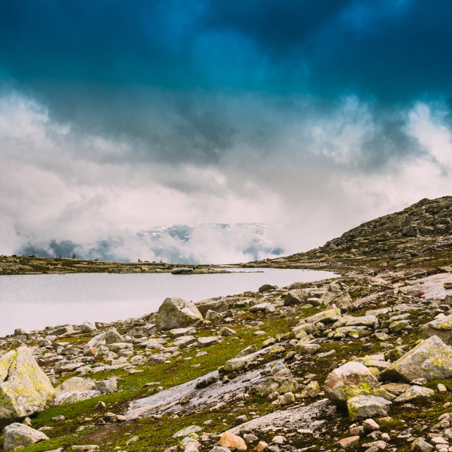 """Scenic View Of Mountains Lake. Nature Of The Norwegian Mountains Landscape...."" stock image"