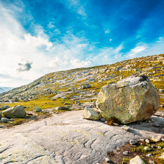 """Mountains Landscape With Blue Sky In Norway. Travel In Scandinavia."" stock image"