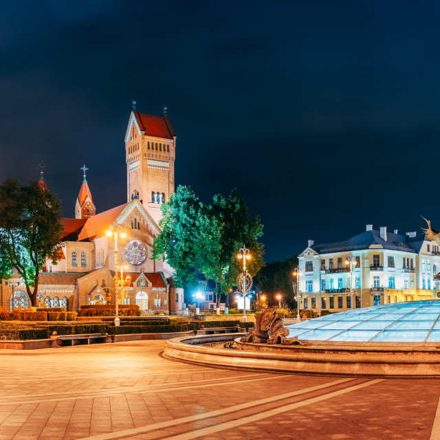 """Minsk, Belarus. Night View Church Of Saints Simon And Helen Or Red Church In..."" stock image"