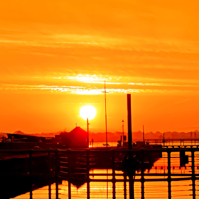 """Sunrise at Lydney Harbour"" stock image"