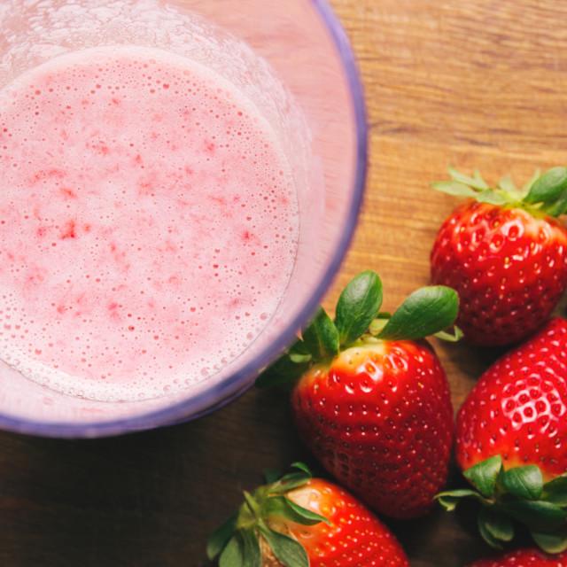 """""""Strawberries and Strawberry Milk Shake"""" stock image"""