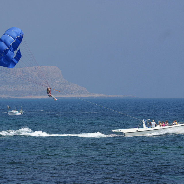 """Parasailing at Ayia Napa Beach Cyprus 1"" stock image"