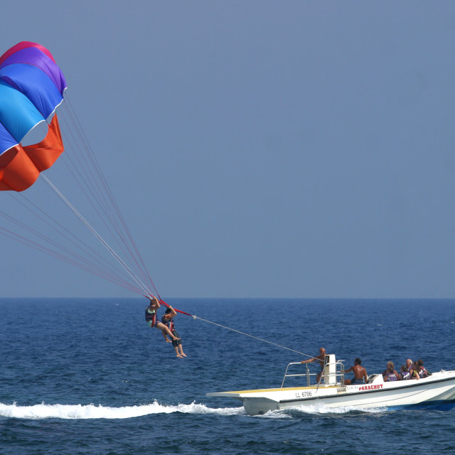 """Parasailing at Ayia Napa Beach Cyprus 2"" stock image"