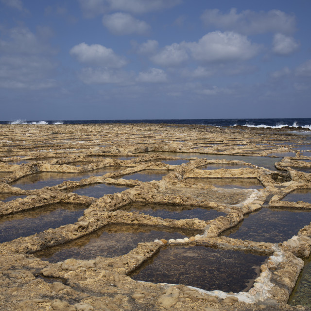 """Salt pans in Malta"" stock image"