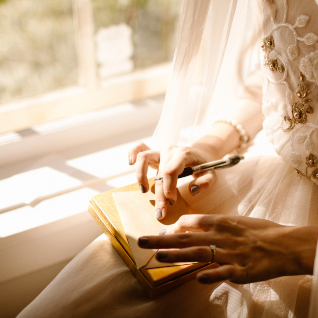 """""""Bride Writing a Letter to the Groom"""" stock image"""