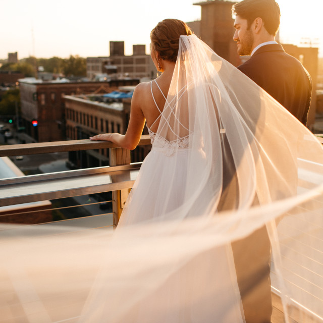 """""""Bride and Groom With Veil Blowing in the Wind at Sunset"""" stock image"""