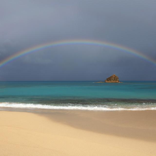 """Perfect Rainbow over Eden Beach, Hawksbill, Antigua"" stock image"