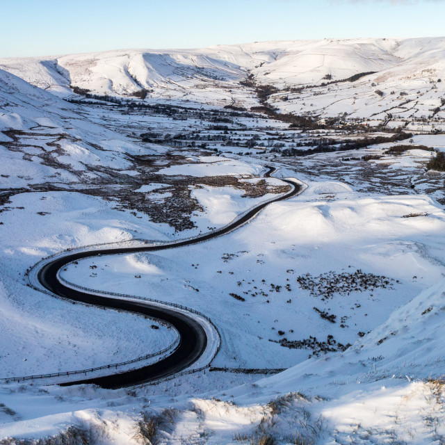 """Snow Covered Rushup Edge and Kinder Scout Seen From Mam Tor"" stock image"