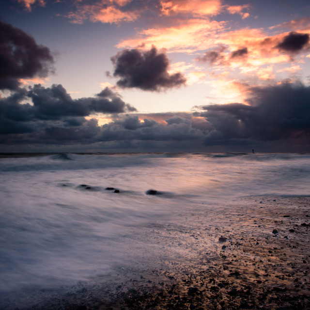 """Mundesley beach- stormy clouds"" stock image"