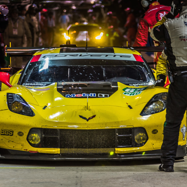 """Yellow Corvette - Le Mans"" stock image"