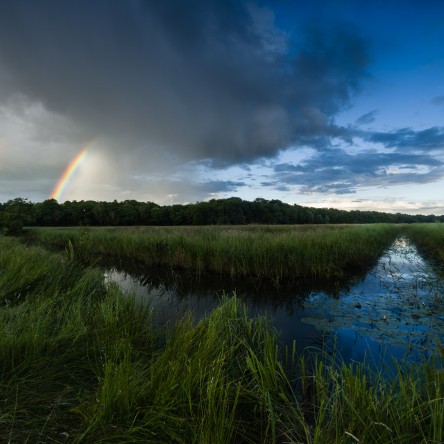 """Front. Storm and rainbow over watermeadow"" stock image"