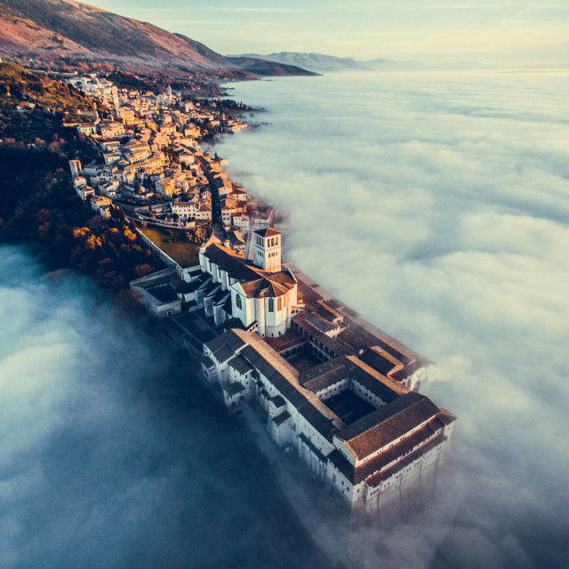 """Assisi over the clouds"" stock image"