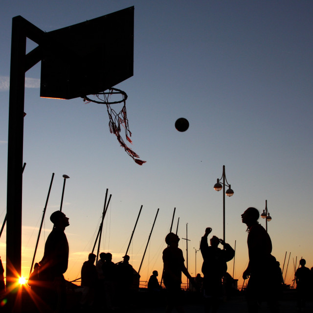 """Basketball on Brighton Seafront"" stock image"