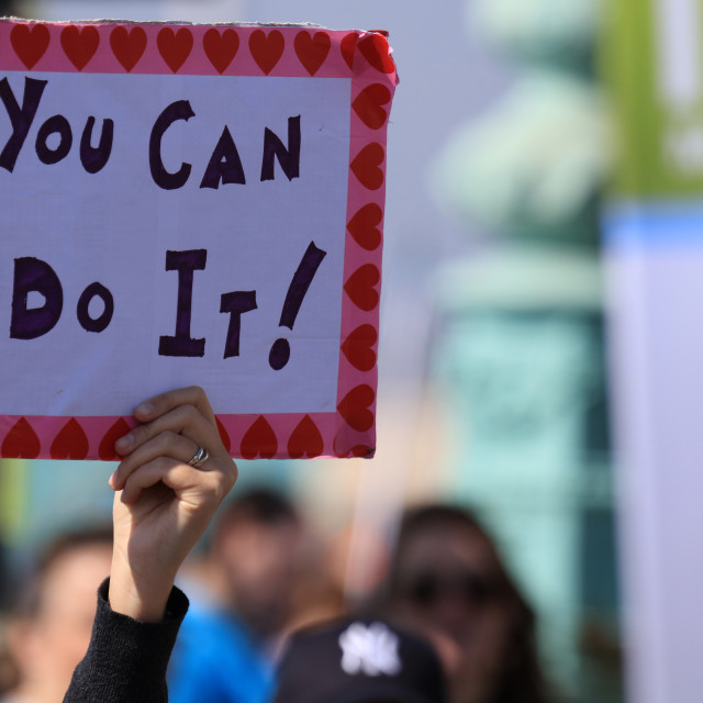 """""""'You Can Do It !' sign at Brighton Marathon"""" stock image"""