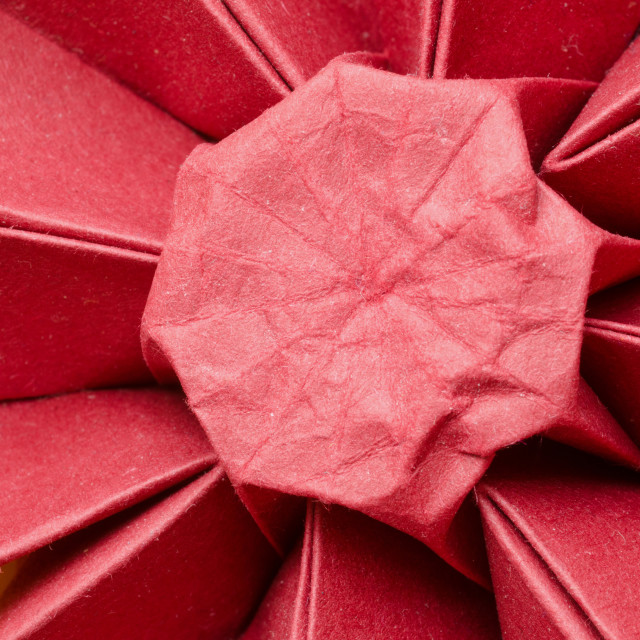 """Red paper origami daisy flower"" stock image"