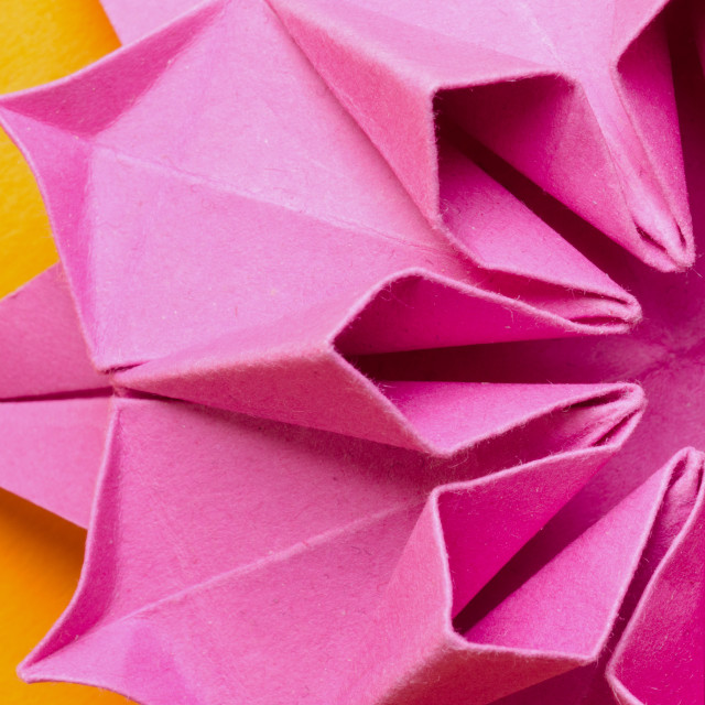 """Pink paper origami Dahlia flower"" stock image"