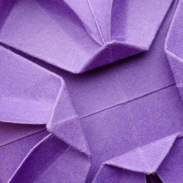 """Purple paper origami flower"" stock image"