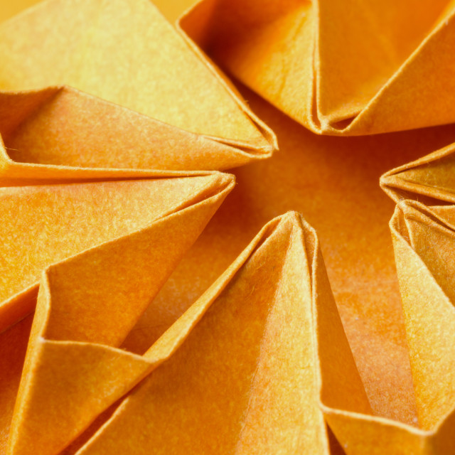 """Textured orange paper flower"" stock image"