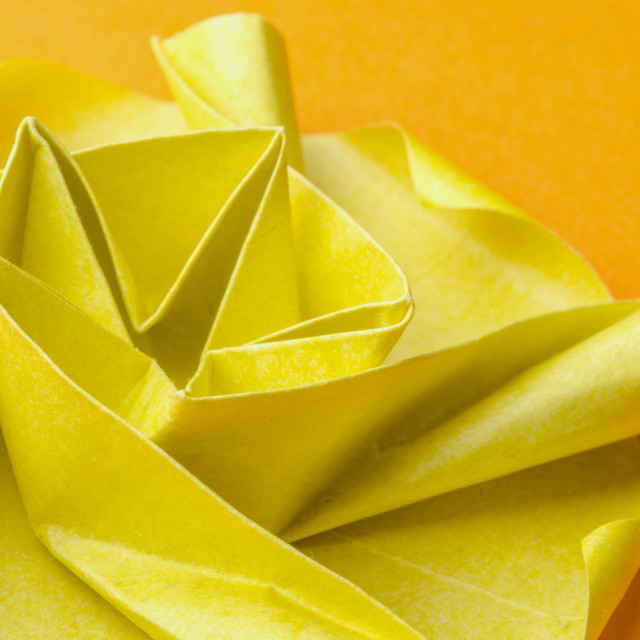 """Yellow paper origami flower"" stock image"