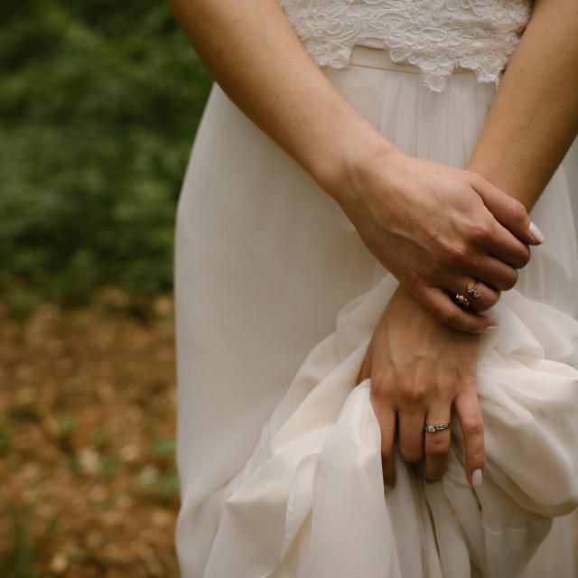"""""""Bride's Crossed Hands"""" stock image"""