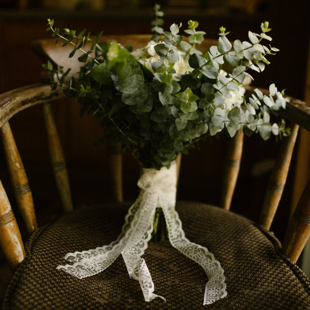 """""""Wedding Bouquet on a Chair Inside"""" stock image"""