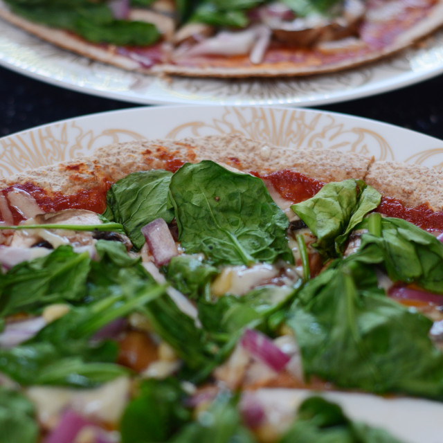 """Pizza on tortilla base"" stock image"