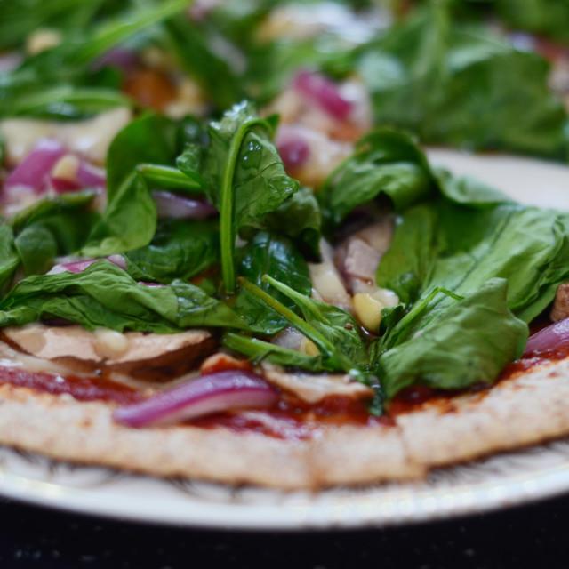 """Pizza on tortilla base close-up"" stock image"