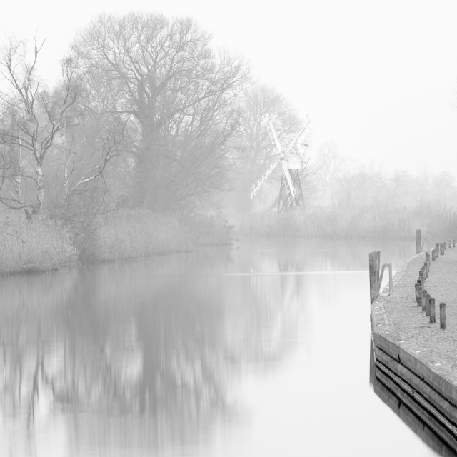 """Misty morning at How Hill mill x"" stock image"